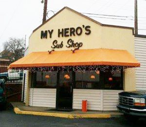 Exterior shot of My Hero's Sub Shop. Rochester PA